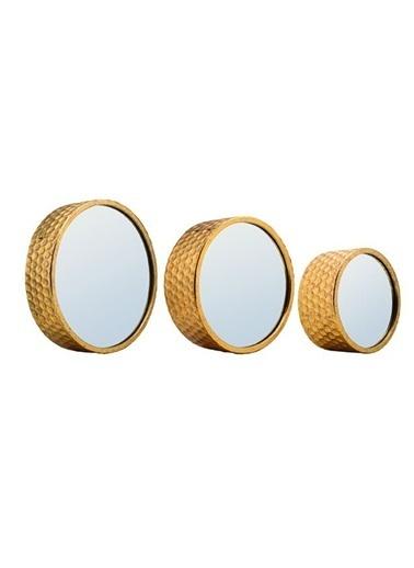 3-D Metal Yuvarlak Duvar Aynası-Warm Design